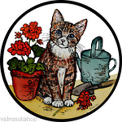 STAINED GLASS WINDOW ART - STATIC CLING  DECORATION - KITTEN AND GERANIUMS