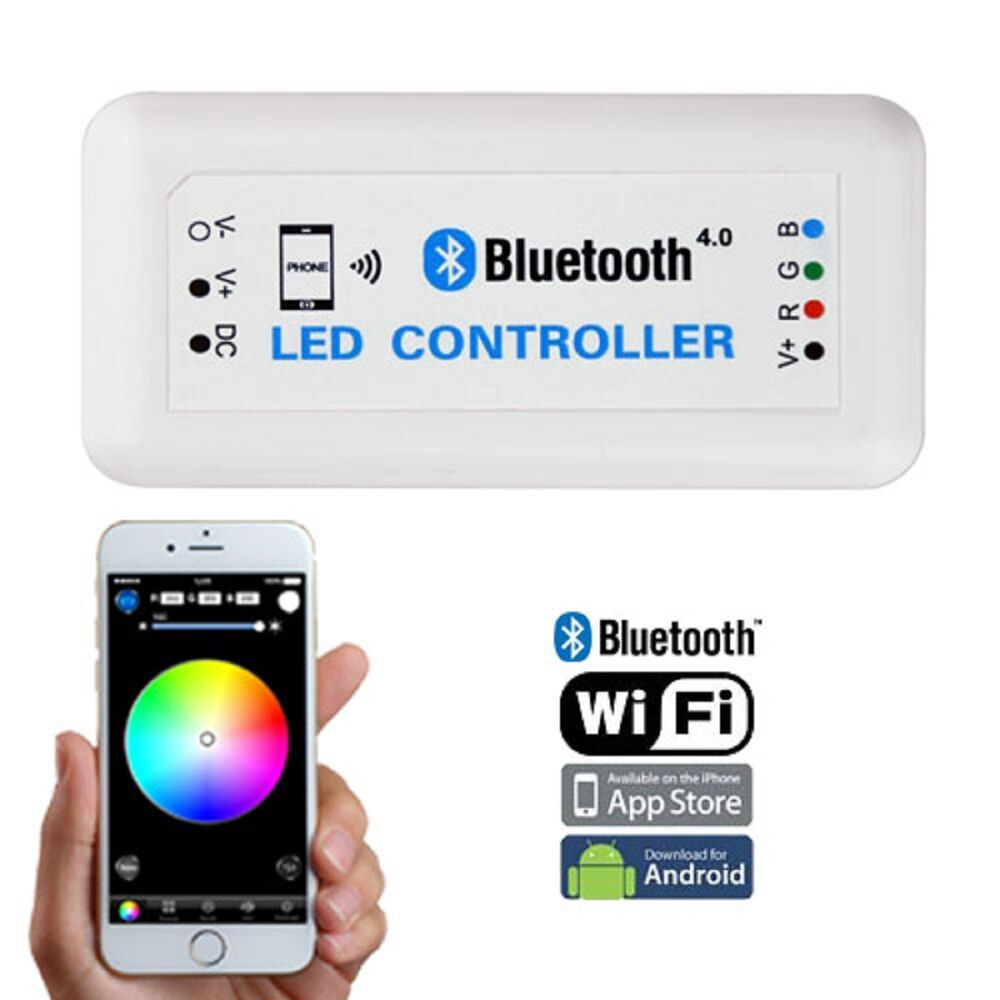 bluetooth cell phone ios android rgb led color changing light remote controller ebay. Black Bedroom Furniture Sets. Home Design Ideas