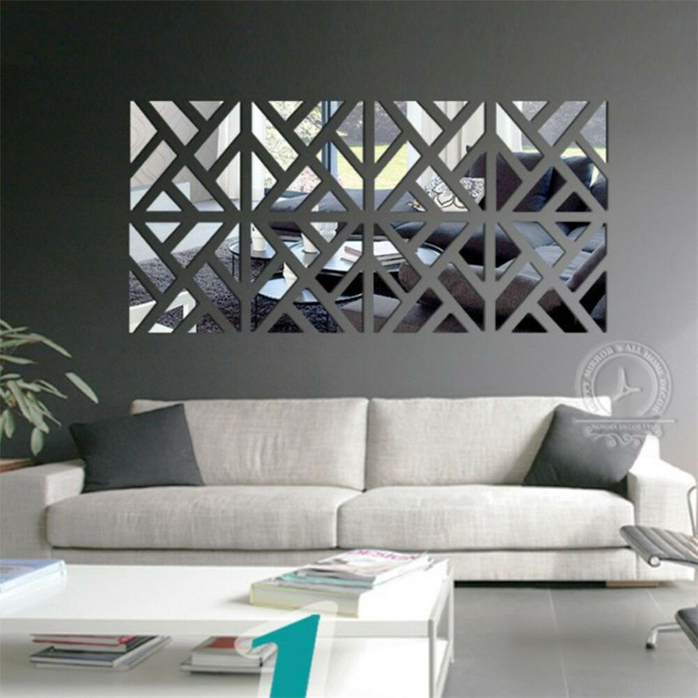 Novelty 3d mirror removable wall stickers decal sofa for Mirror wall decoration ideas living room