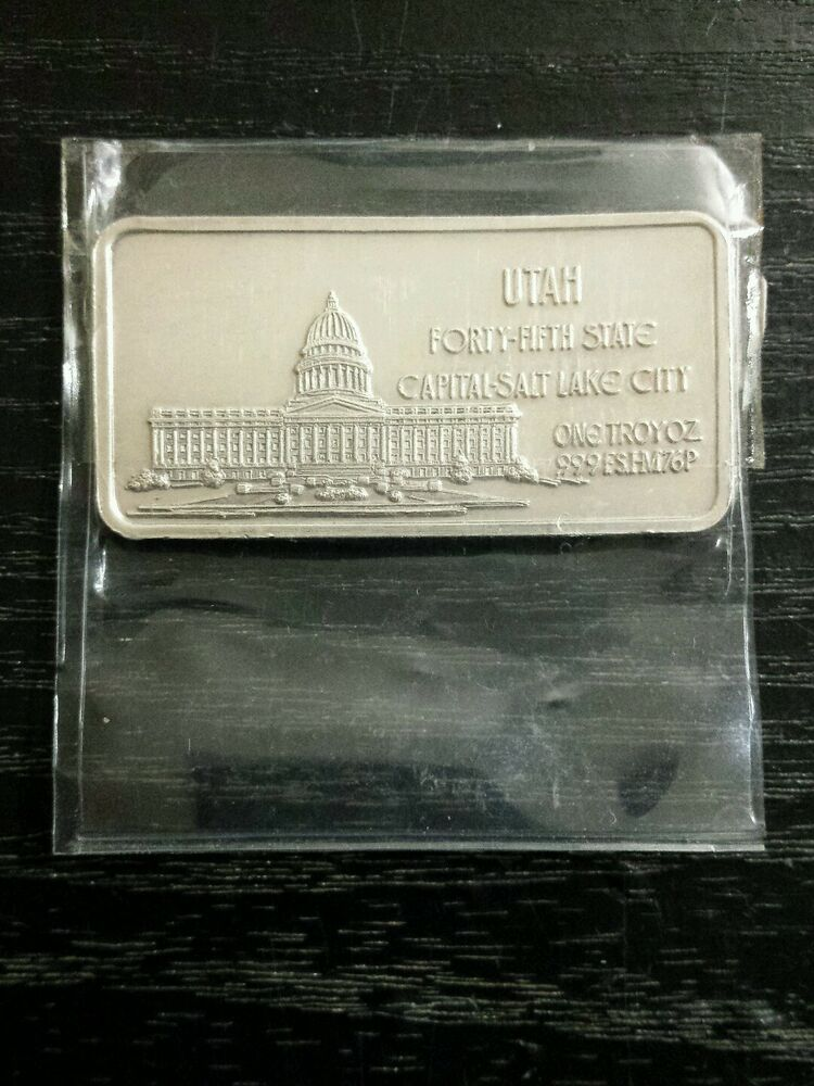 Utah State Usa 1oz Silver Bar 1 Troy Oz Fine Bullion 999