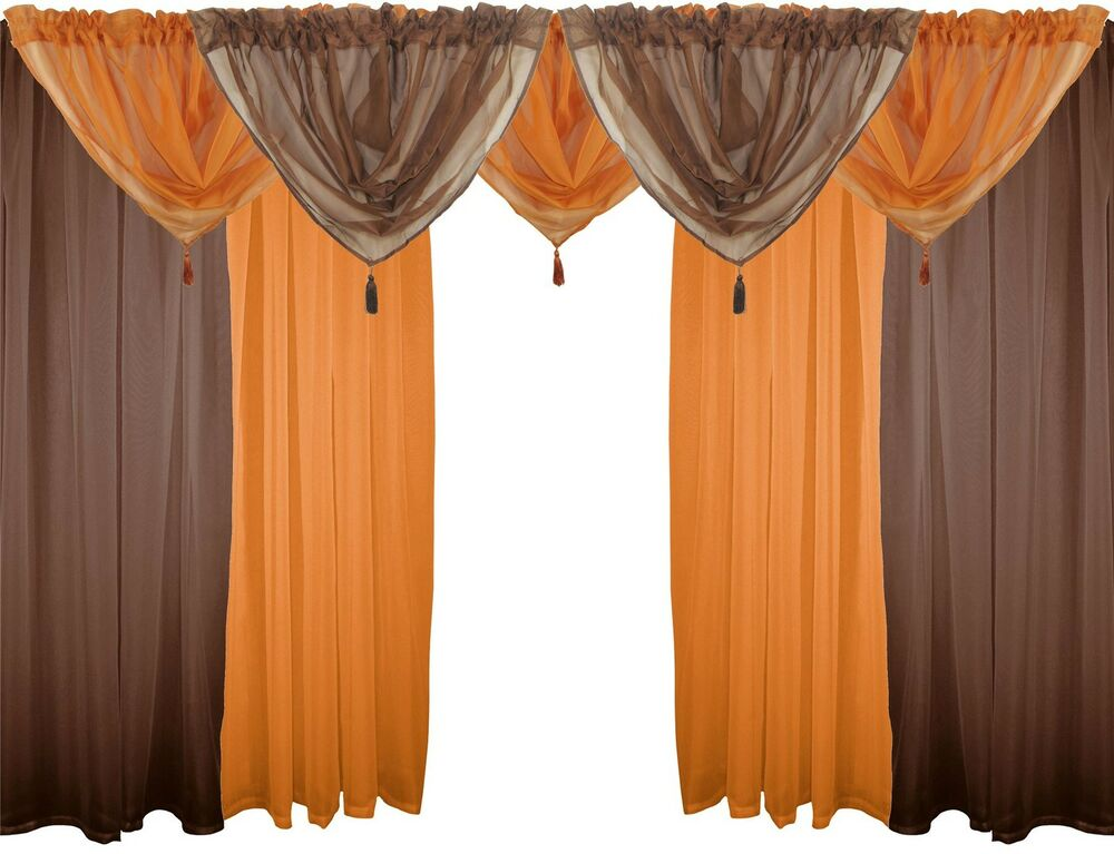 Brown Orange 9 Piece Voile Set 48 122cm Rod Pocket Curtains Drapes Swags Ebay
