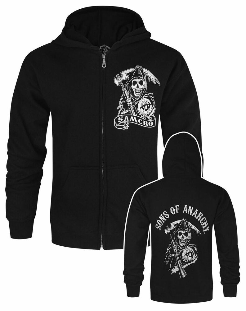 official sons of anarchy samcro men 39 s black zipped. Black Bedroom Furniture Sets. Home Design Ideas