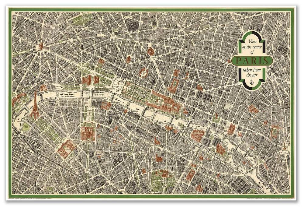 Aerial View Pictorial Street Tourist Map Of Vintage Old Paris France