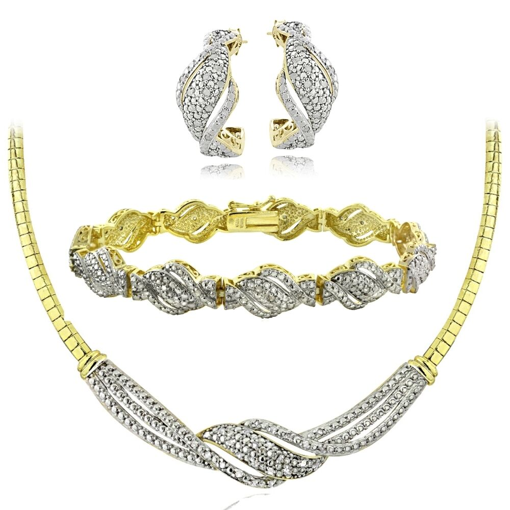 bracelet and earrings sets 0 75 ct twist necklace bracelet earrings set 7358