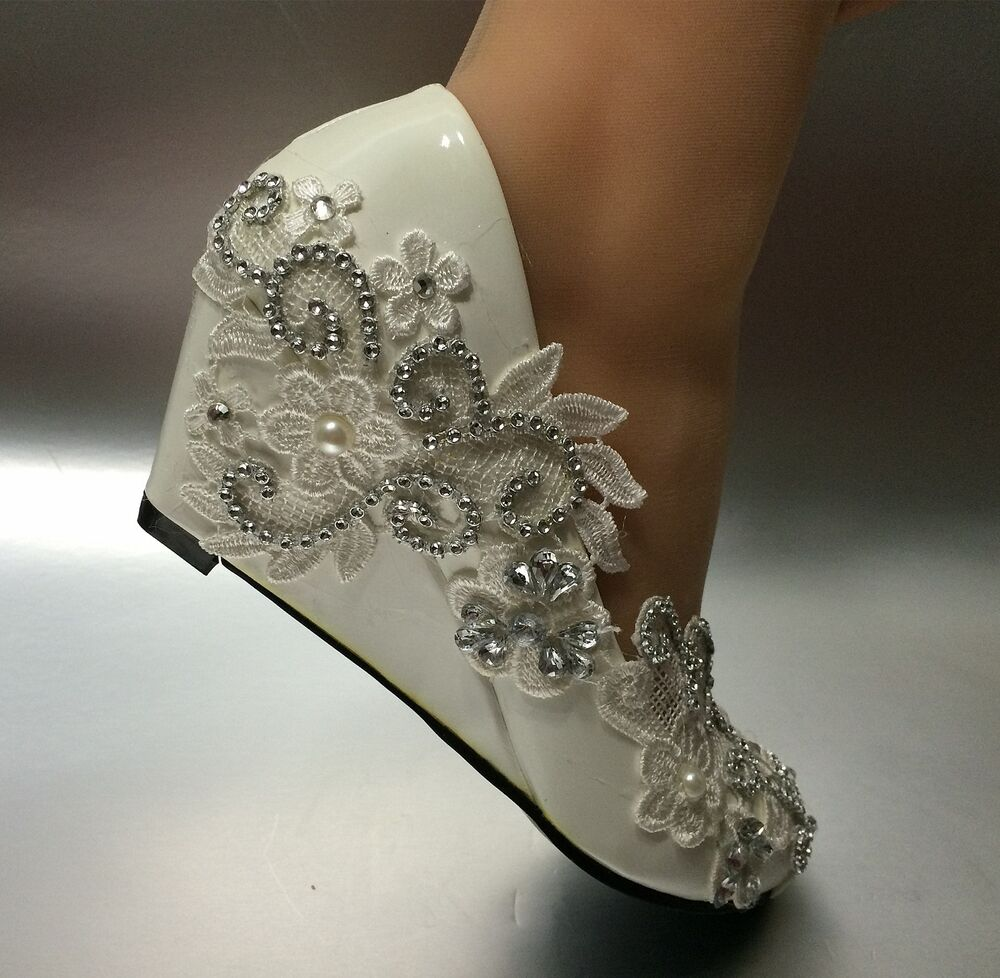 5 Cm Wedge White Ivory Lace Crystal Wedding Shoes Bridal