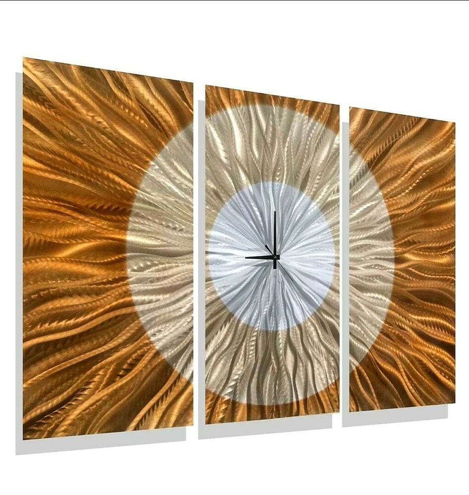 Large Silver Wall Decor: Large Orange/Gold/Silver Modern Metal Wall Clock Accent