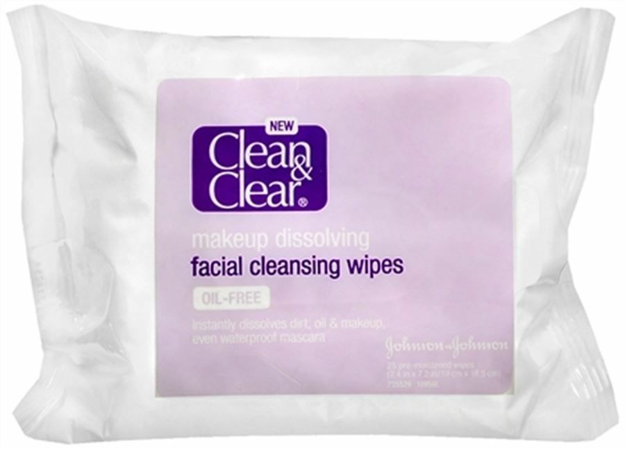 Clean - Clear Makeup Dissolving Facial Cleansing Wipes 25 Each (pack Of 6)