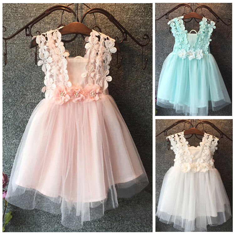 NWT Baby Girls Princess Lace Tulle Flower Tutu Backless