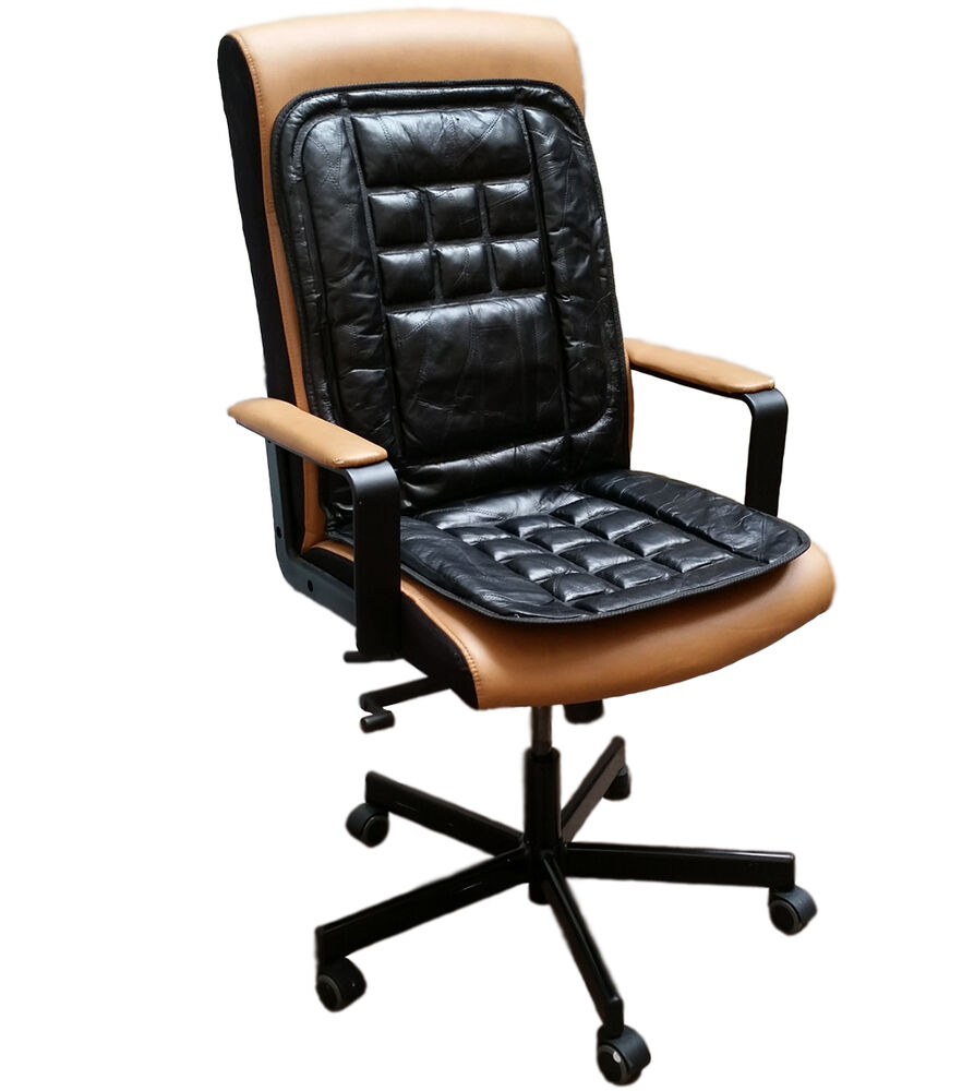 Orthopaedic Leather Back Support Protect Massage Office Chair Seat Cover Cush