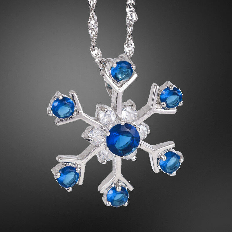 fashion jewelry snow flake blue sapphire silver tone. Black Bedroom Furniture Sets. Home Design Ideas