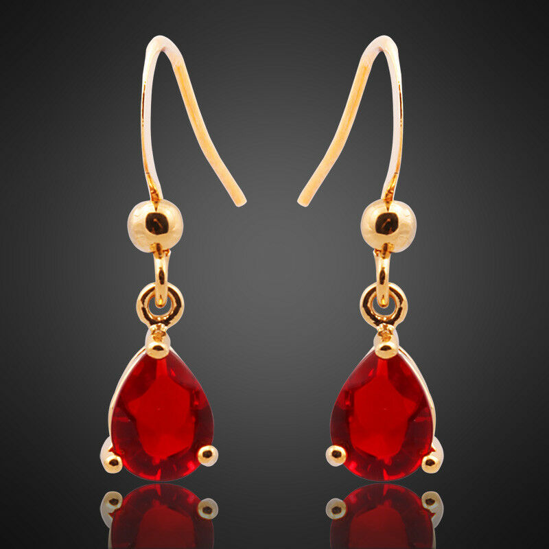 Thanksgiving Sarotta Jewelry Fashion Lady Red Ruby Dangle ...
