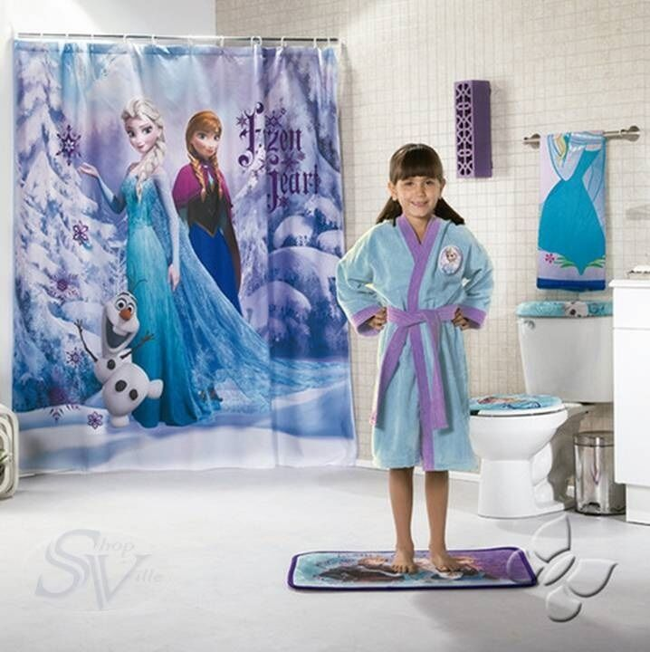 Disney Frozen Elsa Anna Olaf Snow Shower Curtain New Girls Bath Bathroom Deco