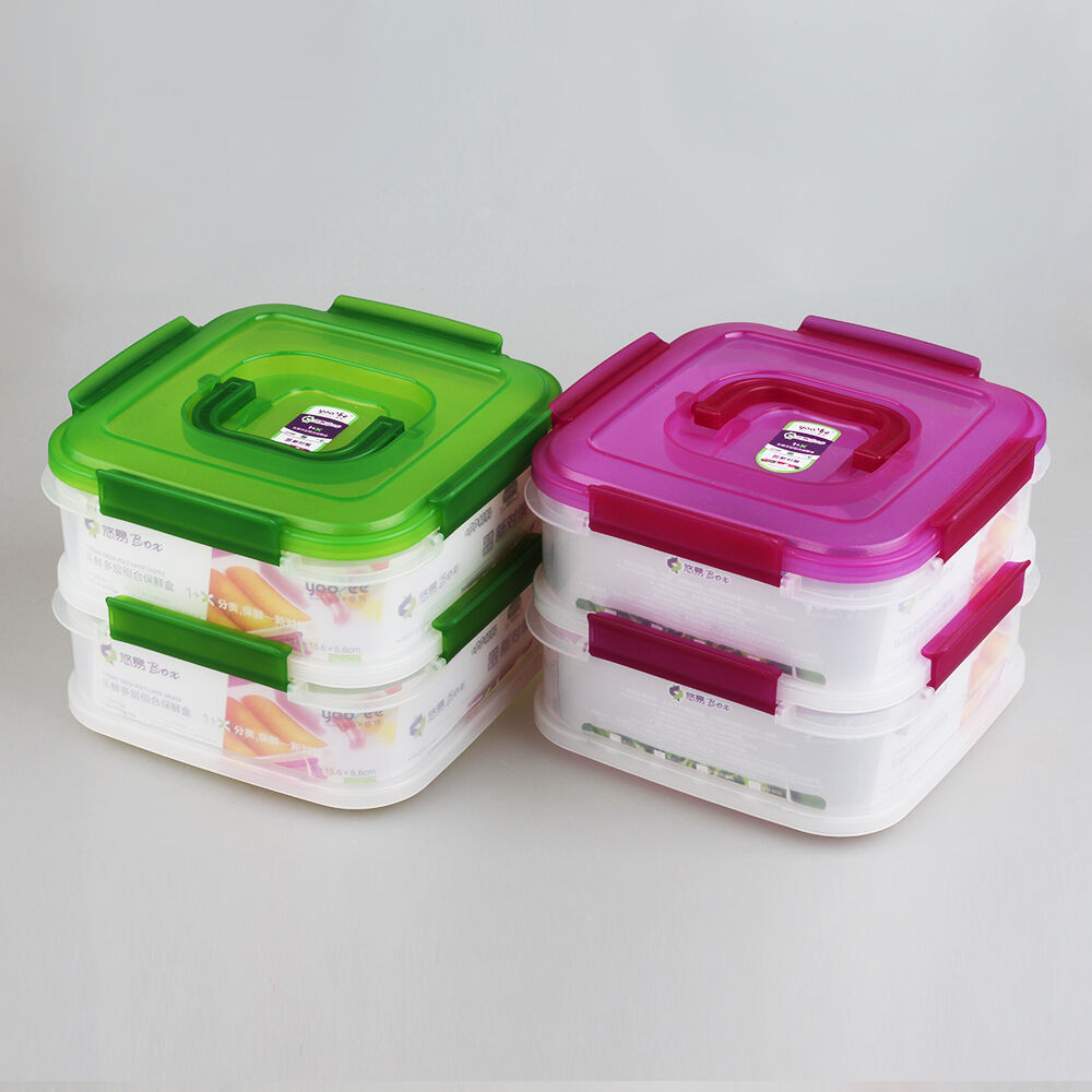 Uzo1 Stack And Lock Food Container With 2 Tier
