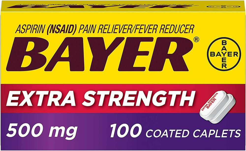 Genuine Bayer Aspirin, 325mg Coated Tablets, Pain Reliever
