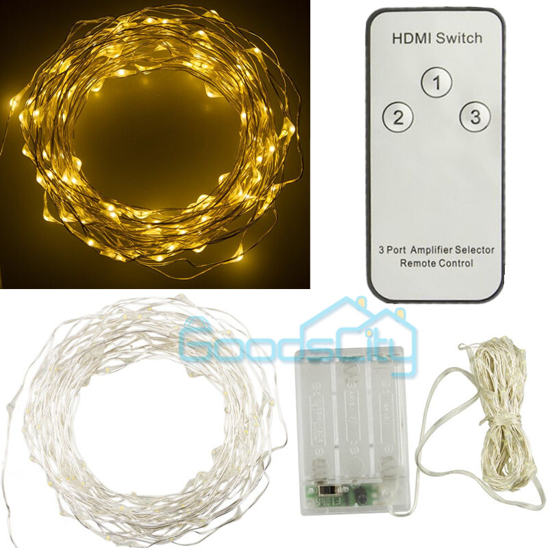 Primark Copper String Lights : 100 LED 10M Copper Wire LED Light Warm White String Fairy Lights Battery Powered eBay
