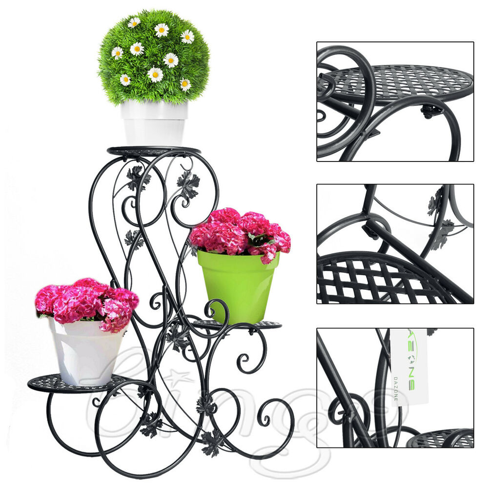 Flower Stand Designs : Tier outdoor garden flower plant stand metal floor