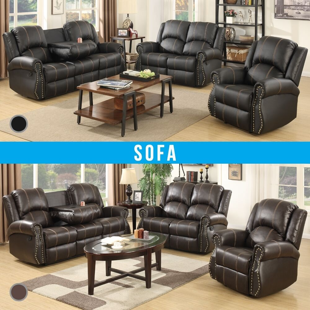 leather recliner sofa stylish gold thread 3 2 1 seater suite brown or black ebay. Black Bedroom Furniture Sets. Home Design Ideas