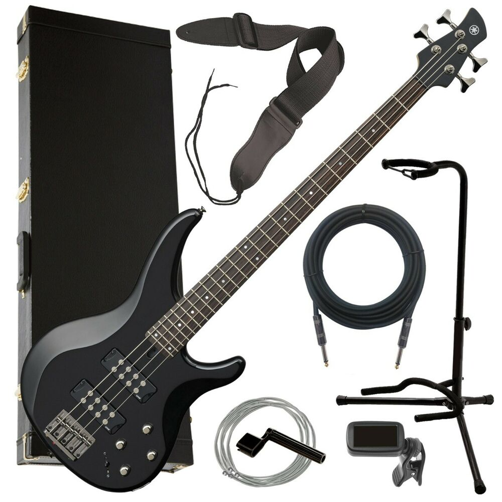 yamaha trbx304 4 string electric bass guitar black complete bass bundle ebay. Black Bedroom Furniture Sets. Home Design Ideas