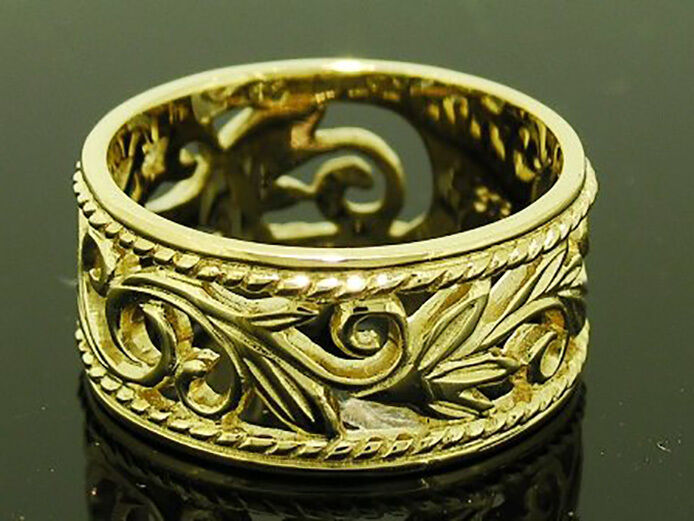 R066 Genuine 9ct Heavy Solid Gold Filigree Botanical Wide