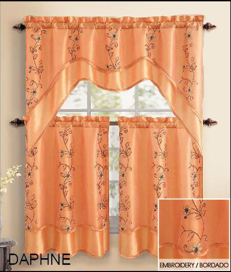 Orange 3pc Window Curtain Set 2 Layer Embroidered Sheer