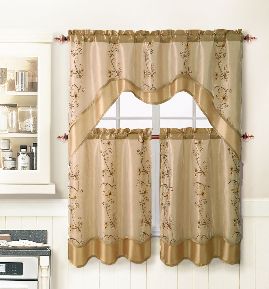 beige 3pc window curtain set 2 layer embroidered sheer. Black Bedroom Furniture Sets. Home Design Ideas