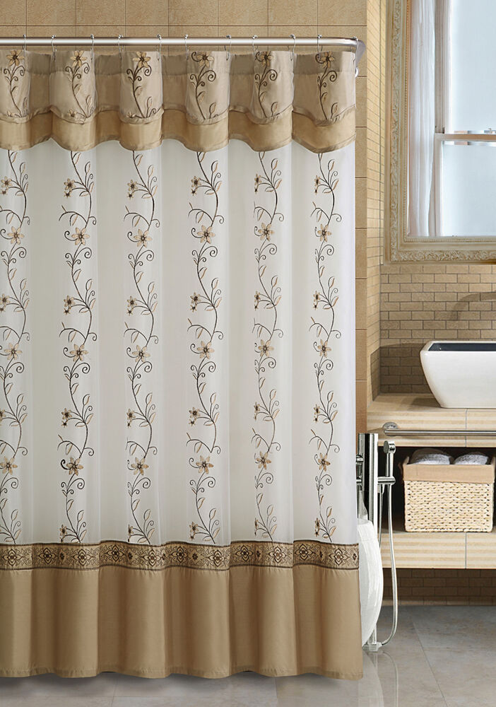 off white gold fabric shower curtain 2 layered embroidered attached valance ebay. Black Bedroom Furniture Sets. Home Design Ideas