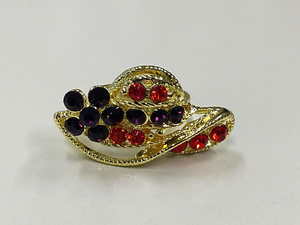 New adjustable red and purple rhinestone gold tone ring for Red hat bling jewelry