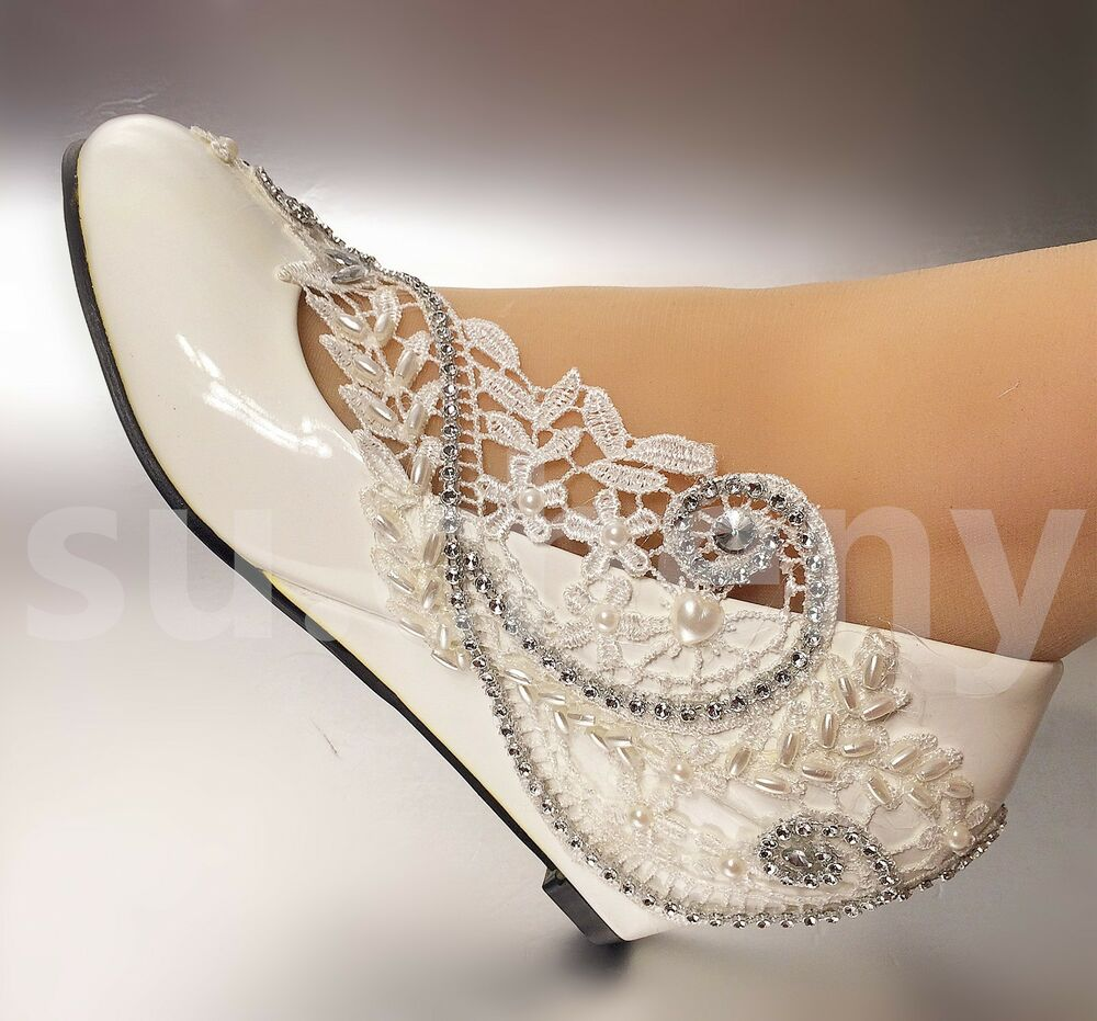 "2"" 3"" White Ivory Wedges Pearls Lace Crystal Wedding Shoes"