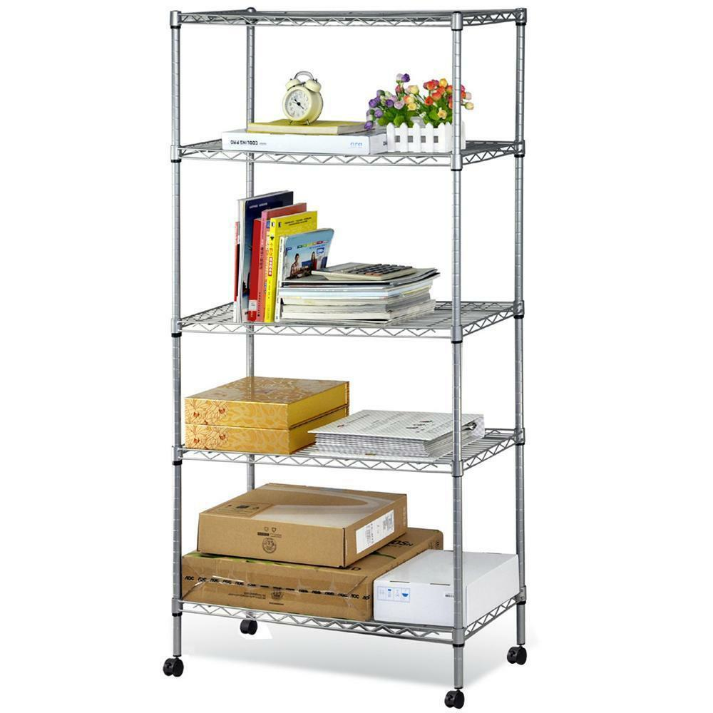 5 shelf steel tier shelving rack with wheels adjustable. Black Bedroom Furniture Sets. Home Design Ideas