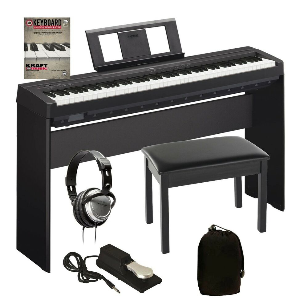 Yamaha p 45 digital piano black complete home bundle ebay for Yamaha digital piano dealers