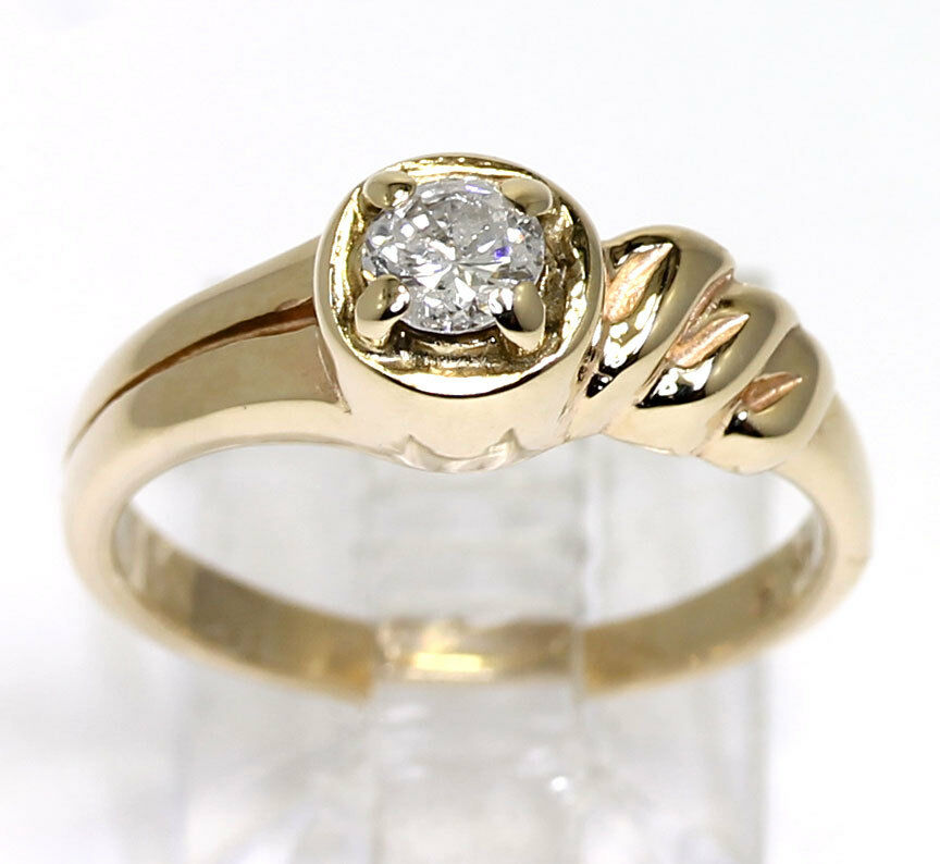 Diamond engagement ring solitaire 14K yellow gold round ...