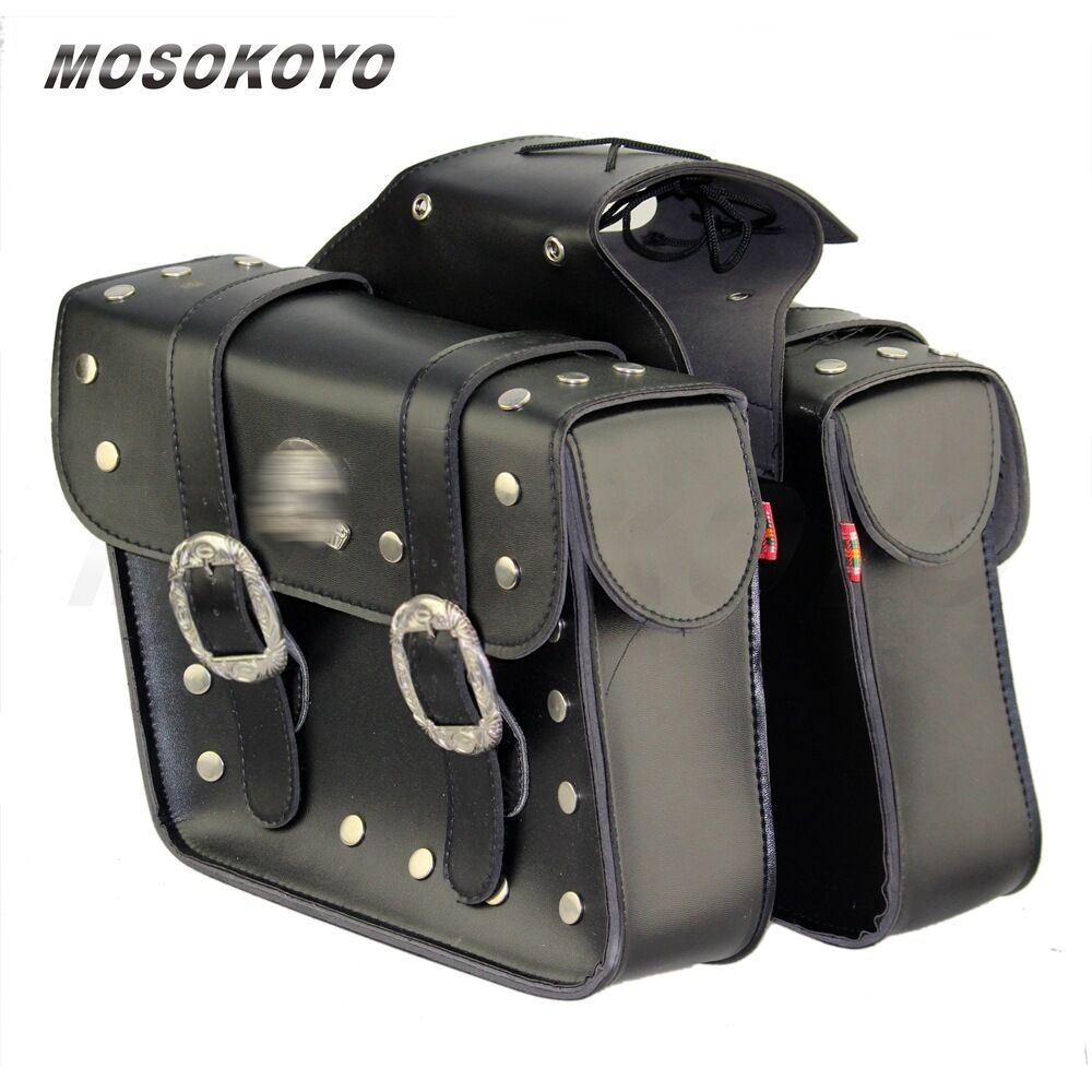 Motorcycle leather saddlebags saddle bags pouch for harley for Motor cycle saddle bags