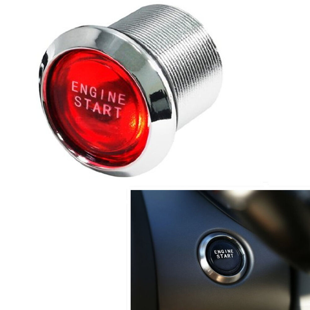 Auto Car Keyless Engine Start Push Button Red Led Power