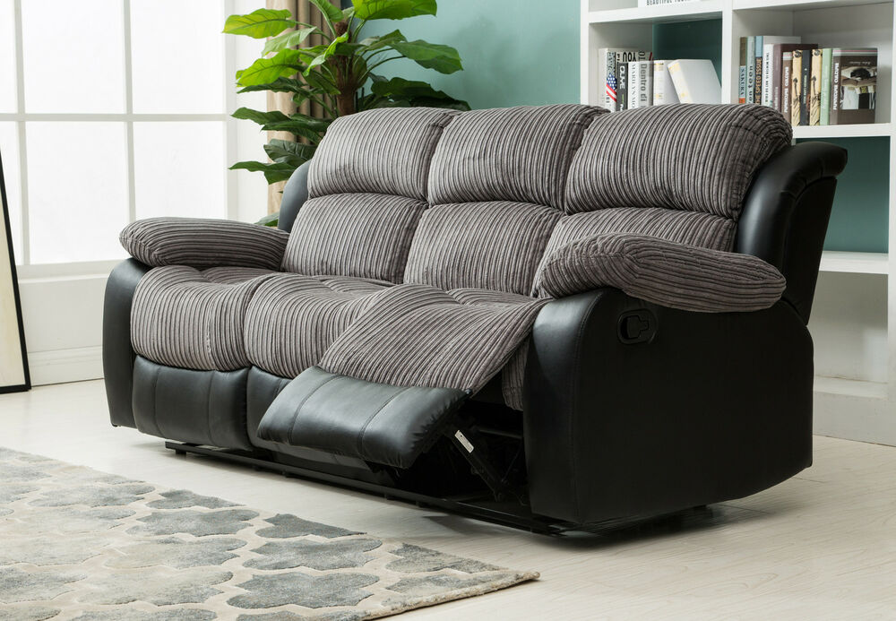 Lovely New Luxury California 3 Seat Jumbo Cord Faux Leather Recliner Sofa Grey Black Minimalist - Unique 3 seat reclining sofa Minimalist
