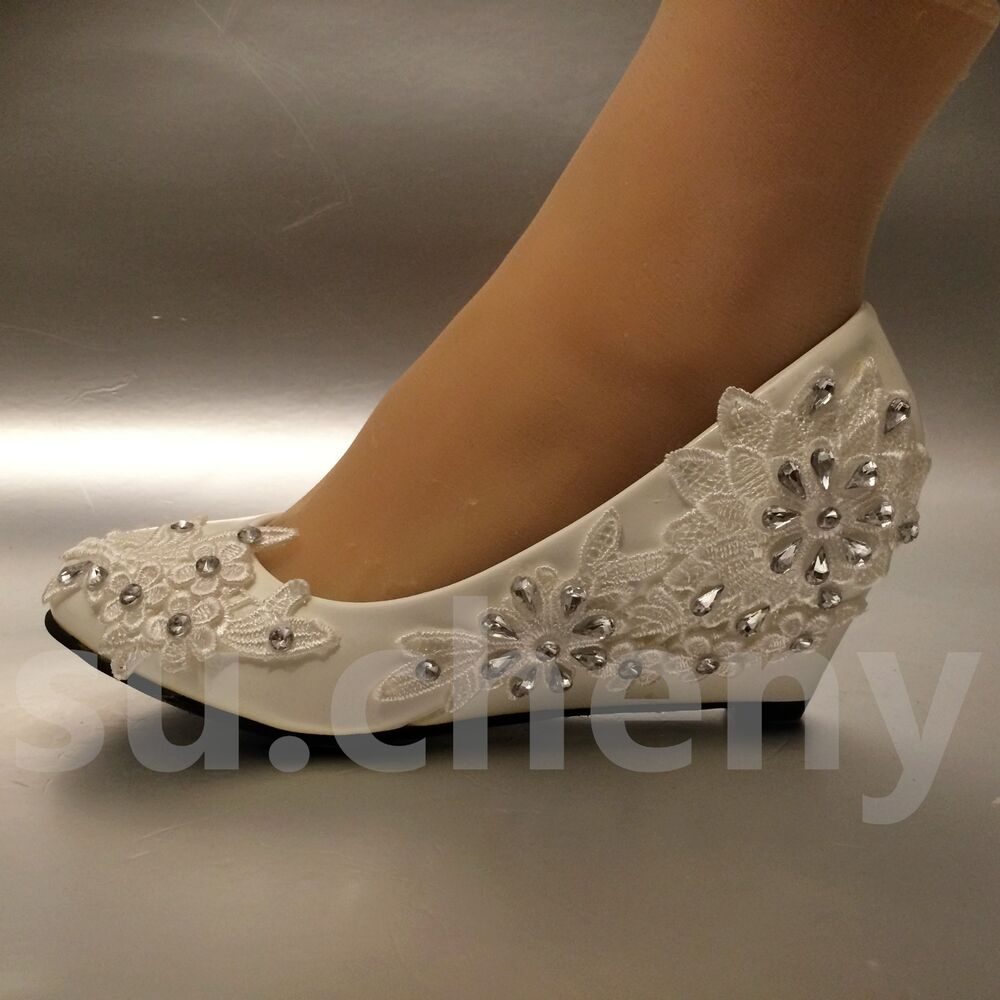 "Wedge Heel Shoes For Wedding: 2"" Heel White Ivory Wedge Lace Flowers Crystal Wedding"
