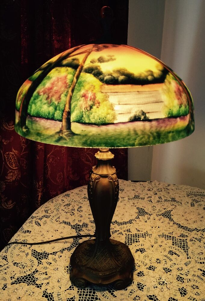 Vintage Reverse Painted Landscape Lamp Phoenix Glass Co