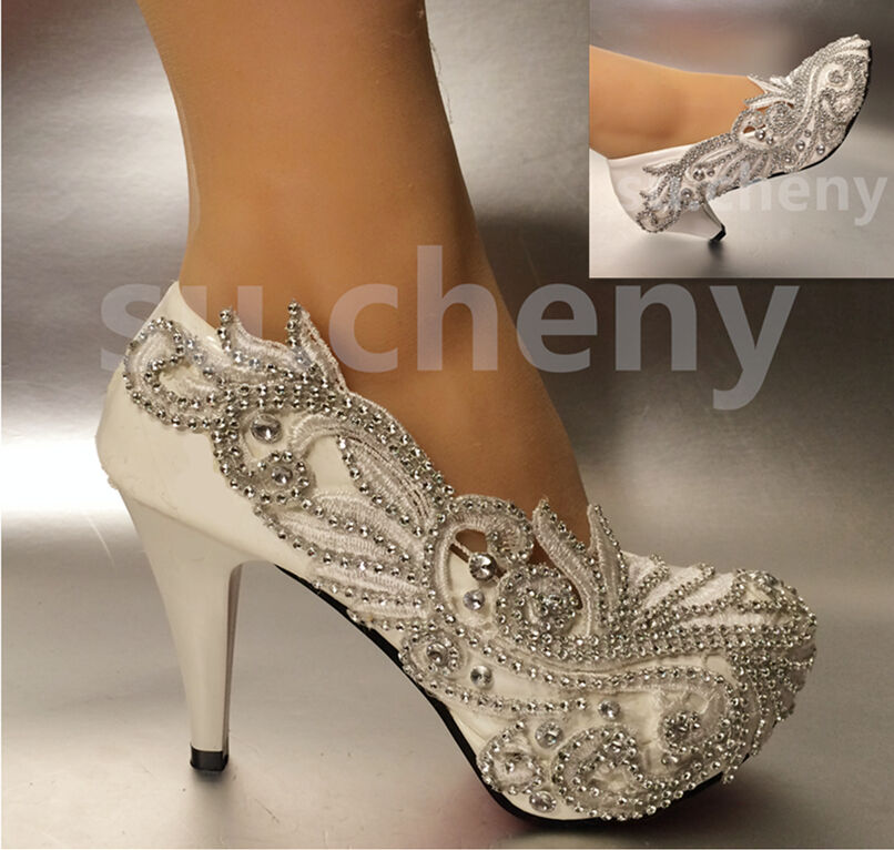 "2""/ 3"" / 4"" Lace White Ivory Crystal Wedding Shoes Bridal"