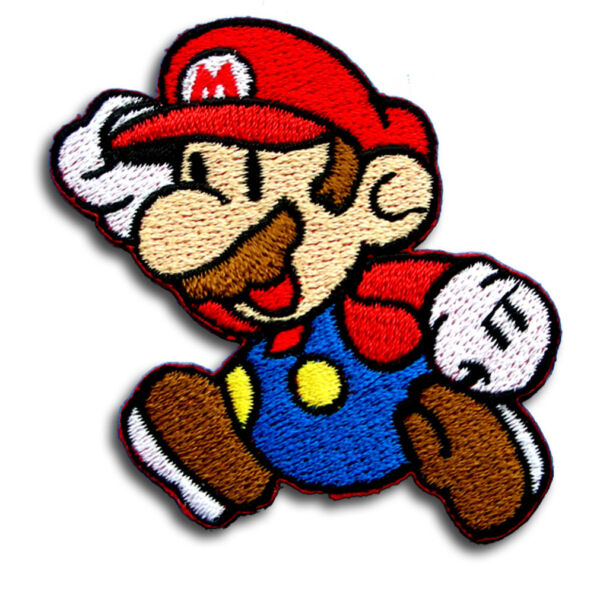 Super Mario Patch Iron on Cute Retro Gifts Motif Kids Sew Craft Game Applique