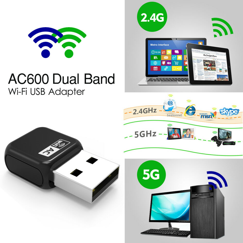 wavlink wifi usb adapter dongle ac600 dual band usb wifi adapter dongle ebay. Black Bedroom Furniture Sets. Home Design Ideas