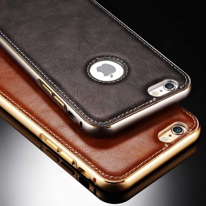 iphone 5s bumper case luxury leather back aluminum bumper cover for apple 14753