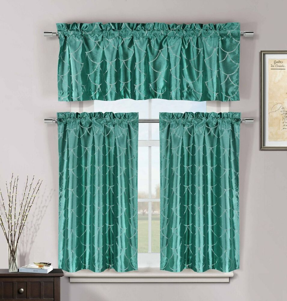 Kitchen Curtains And Valances: Teal 3 Pc Kitchen Window Curtain Set: Faux Silk, Metallic