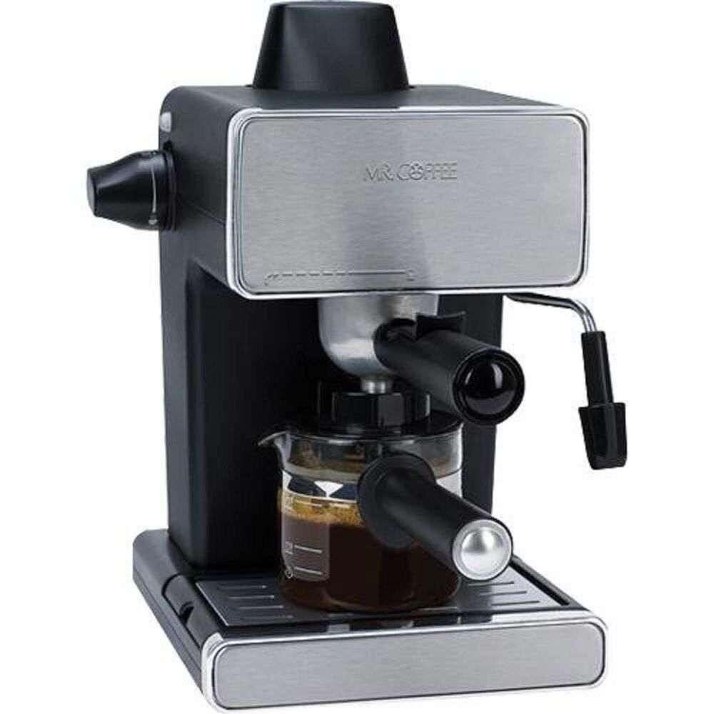 Mr coffee steam espresso machine stainless steel black Coffee maker brands