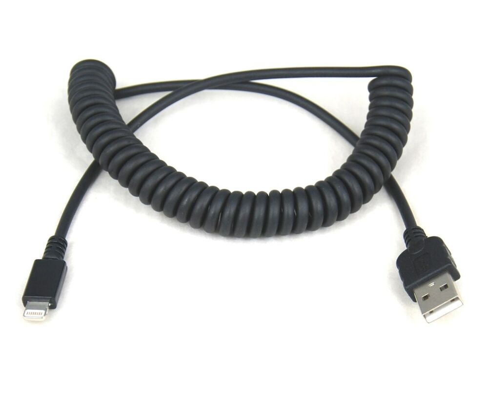 fast charger quick charging only coiled cord usb cable black for iphone 5s 5c 5 ebay. Black Bedroom Furniture Sets. Home Design Ideas