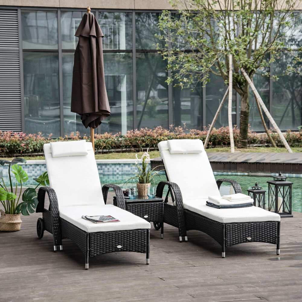 3pc Rattan Sun Lounger Wicker Sofa Day Bed Recliner