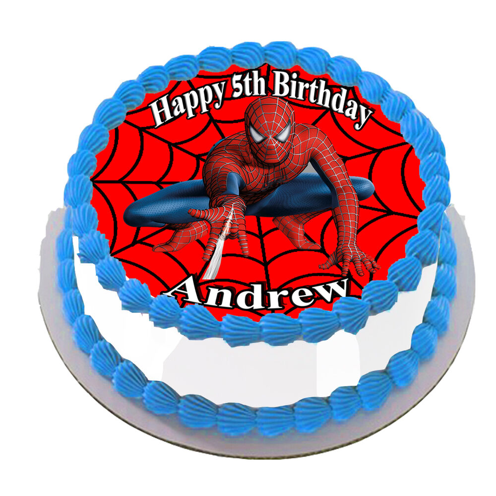SPIDER MAN REAL EDIBLE ICING ROUND CAKE TOPPER PARTY IMAGE ...