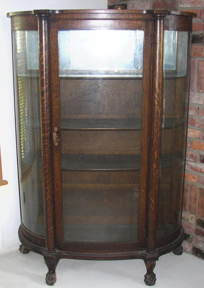 ANTIQUE BOW FRONT OAK CHINA CABINET CLAW FEET CURVED GLASS ...