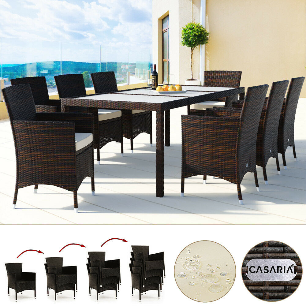 poly rattan sitzgruppe 8 1 sitzgarnitur essgruppe gartenm bel garten set braun ebay. Black Bedroom Furniture Sets. Home Design Ideas