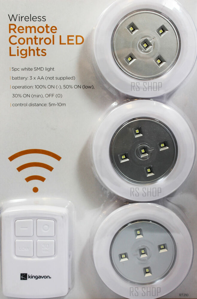 3pc wireless remote control led smd light spotlight battery operated with remote ebay. Black Bedroom Furniture Sets. Home Design Ideas