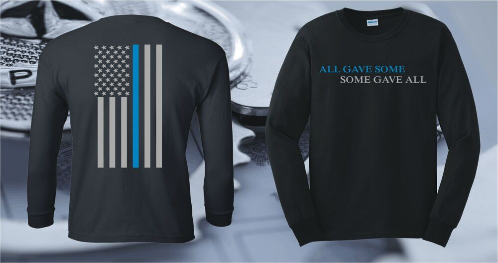 fc306c65 Details about THIN BLUE LINE FLAG LONG SLEEVE POLICE LIVES MATTER OFFICER T- SHIRT COPS USA
