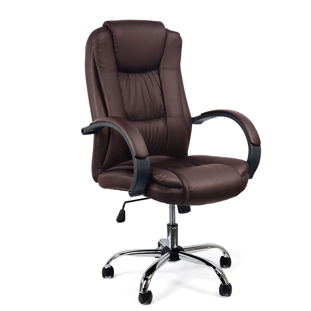 brown pu leather computer desk task office manison chair black ebay